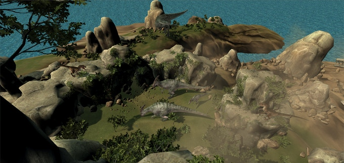 A herd of parasaurolophus grazing in the Cretaceous period. Watch out for the raptors!