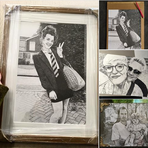 Artist Reward -  Framed pencil sketch portrait by Emily  Sparkes