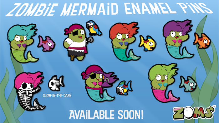 Still Available for Preorder! Zombie mermaid enamel pins! Companion mini pins, Glow-in-the-dark Skeletons Color variants, & Pirates!