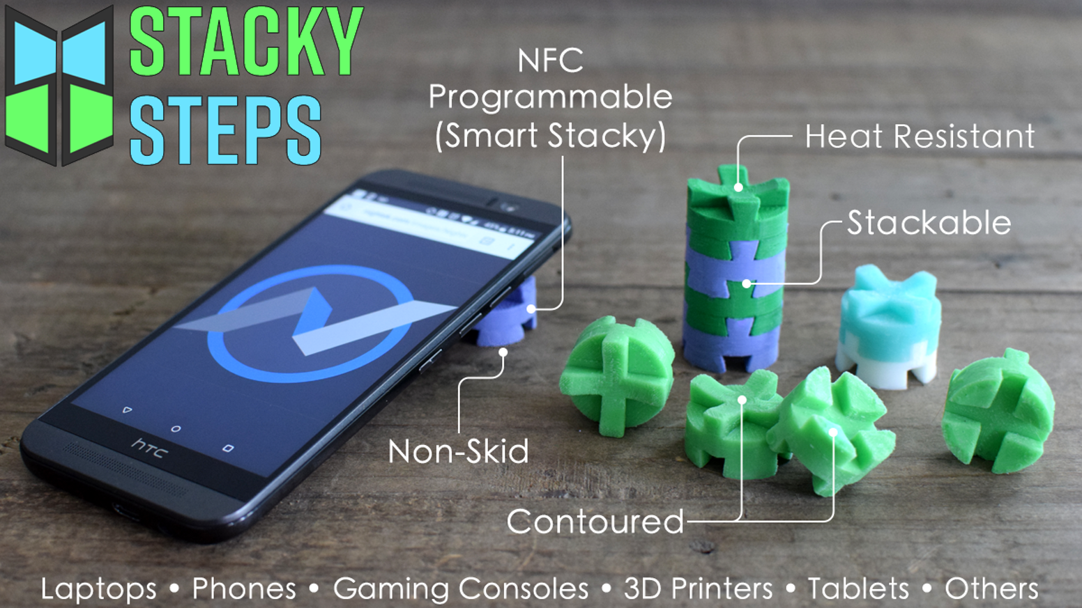 Stacky Steps are engineered to improve airflow under your devices thereby reducing heat, improving performance and ergonomics.