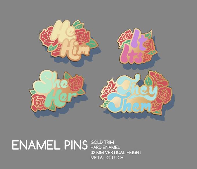 PRONOUNS enamel pins by amélie lavender — Kickstarter