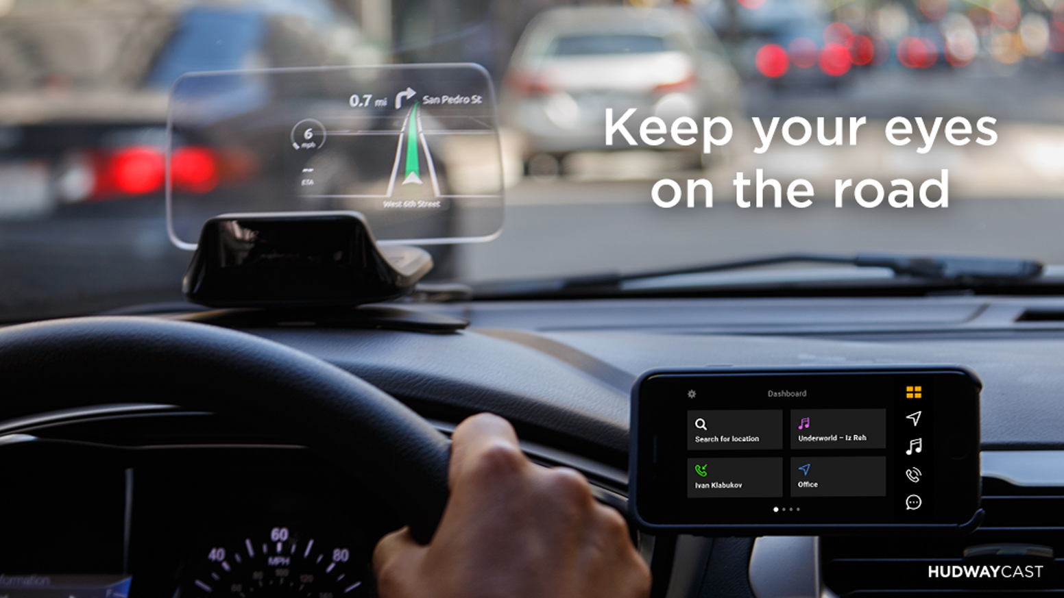 A head-up display (HUD) for your car to get directions, receive calls, texts and control your music while driving.