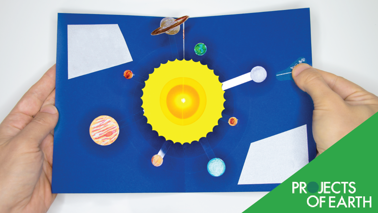 Learn to build a light-up pop-up card that models our solar system and illuminates the sun. A Projects of Earth tech-craft kit.