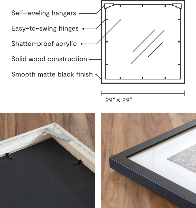 The Meum frame is solid wood, with easy-to-swing hinges and self-leveling hangers.