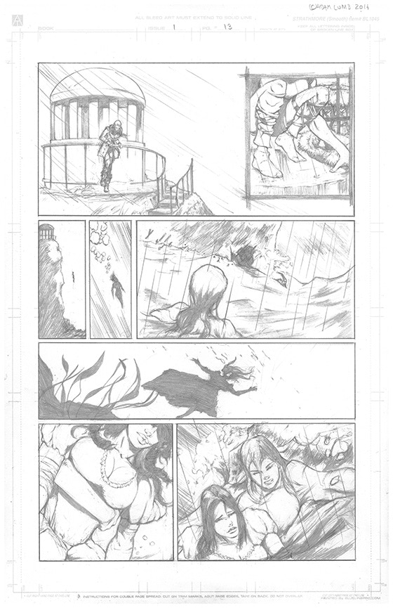 A page of original pencil artwork from The Tide. See higher reward tiers to purchase original art like this.