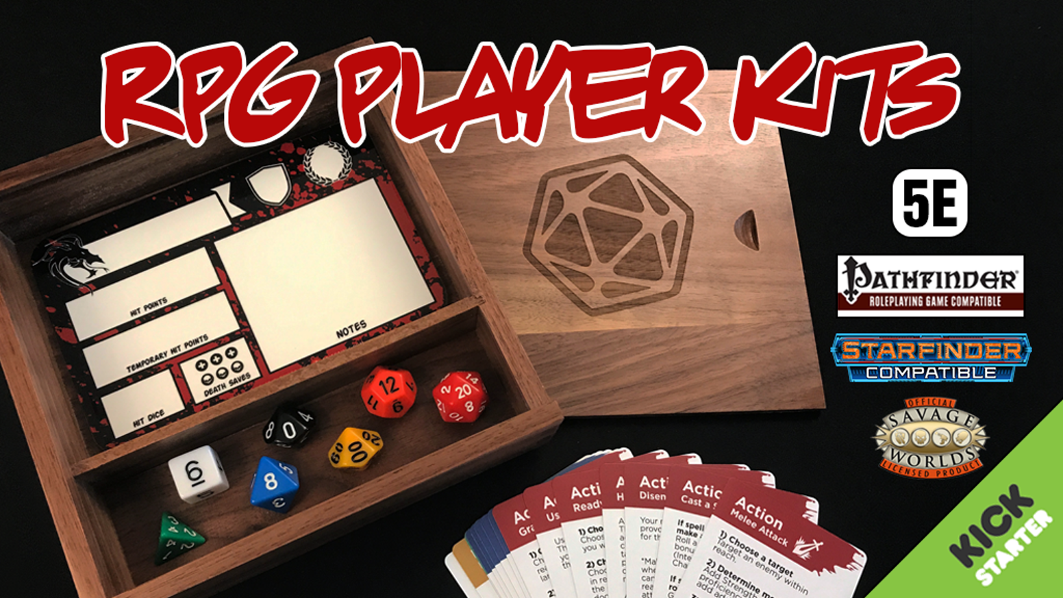 Enhance and streamline your tabletop role-playing experience!  Compatible with DnD 5E and many other role-playing game systems. Miss out on the kickstarter?  Get your RPG Player Kit from our online store at http://critgames.com