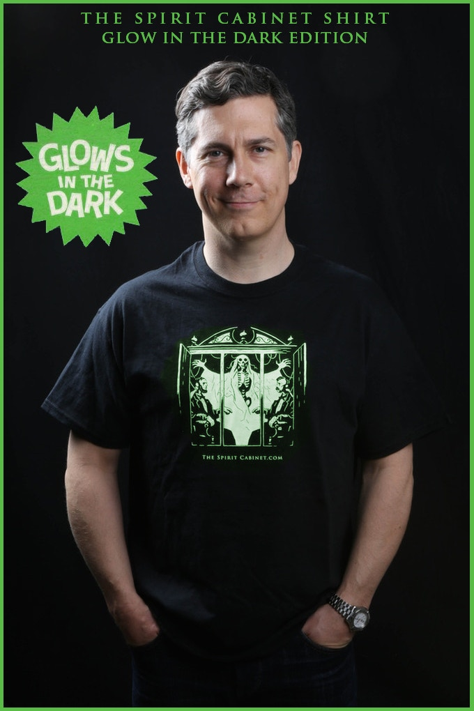 The Original SPIRIT CABINET FILMS T-Shirt (Designed by Mike Mignola), modeled by Mr. Chris Parnell (SNL, Archer, Rick and Morty).