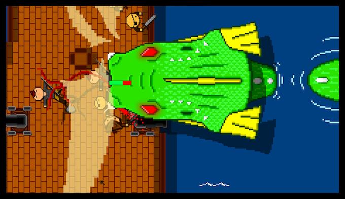 Hacking at a massive sea monster.