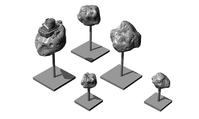 Examples of asteroids. We will be making many more variations and look forward to sharing images with you.