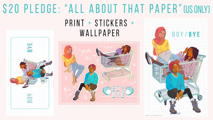 High Quality Exclusive Print + Sticker Sheet + HD Wallpaper + Newsletter! Everything you could ask for, in both hard and soft copy. :-P (Stretch goal eligible)