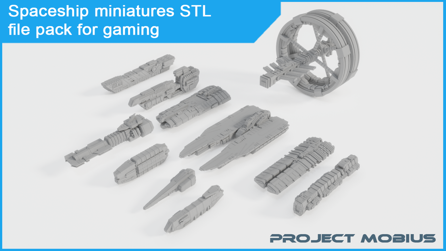 Printable Spaceship Miniatures STL File Pack For Gaming By
