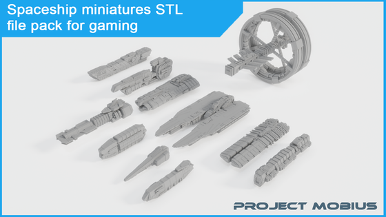 Printable spaceship miniatures STL file pack for gaming