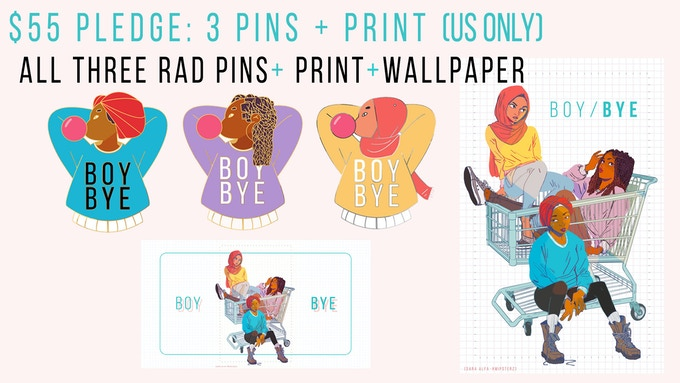 All three rad hard-enamel pins + the print. Personal autographed message on the back of the print thanking you for your support :-) Eligible for bonus exclusive pin stretch goal reward.