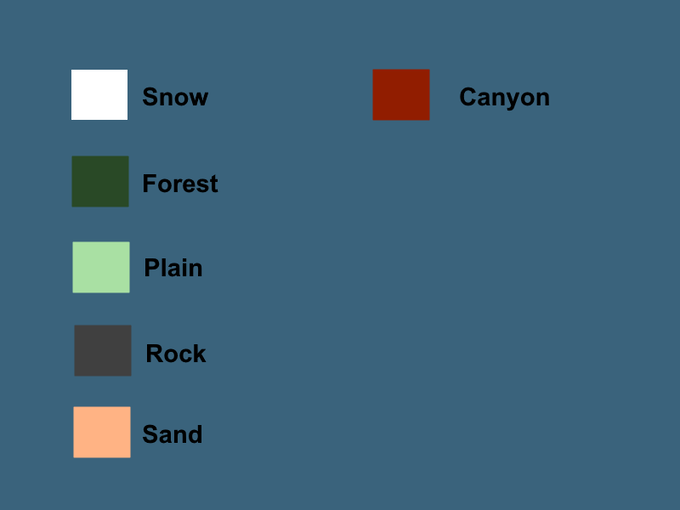 List of regions with their colors