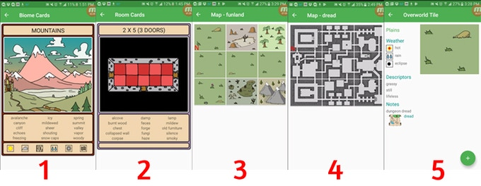 1. Digital World Architect Cards. 2. Digital Dungeon Architect Cards. 3. Overworld Map. 4. Dungeon Map. 5. Overworld Map Tile