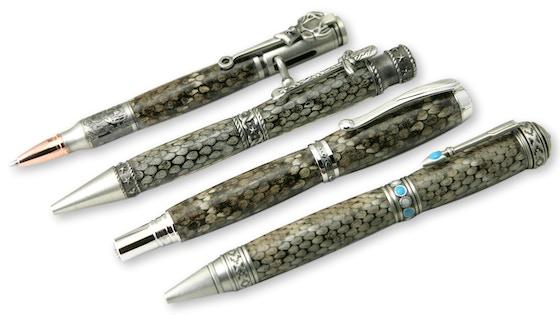 Genuine Diamondback Rattlesnake Snake Skin Writing Pens
