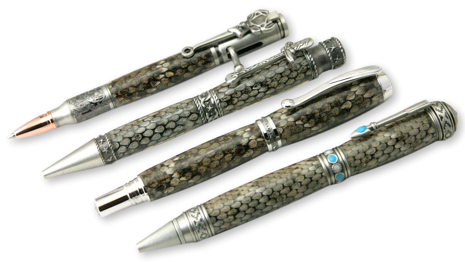 Genuine Diamondback Rattlesnake Skins from the Sonoran Desert handcrafted into amazing writing pens! Fountain, rollerball, & ballpoint!