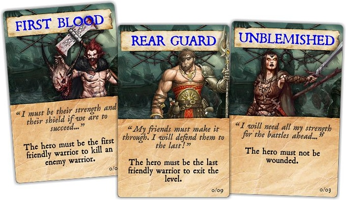 An example of the various quest cards