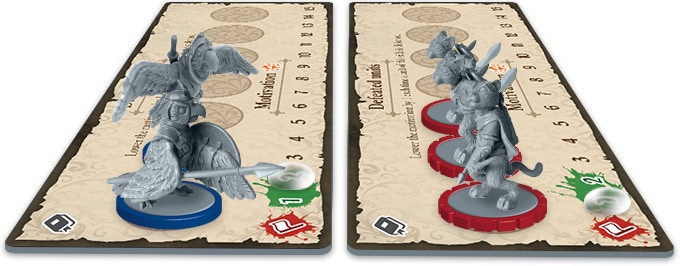 The motivations and defeated units are shown on each side's own board.
