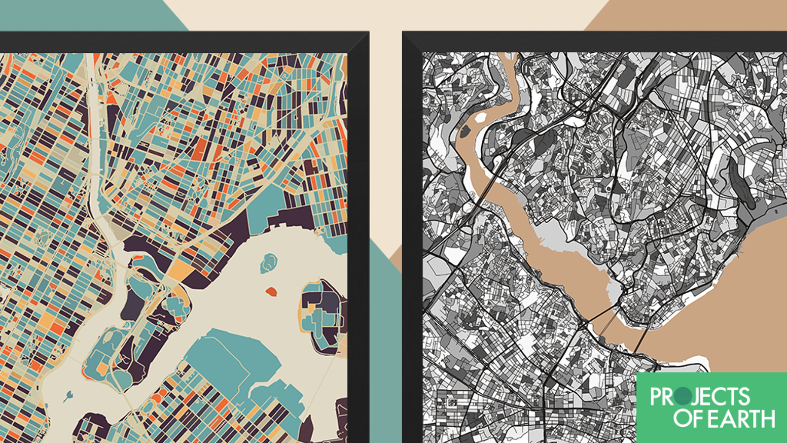Modern Map Art Prints By Mini Cloud Studios