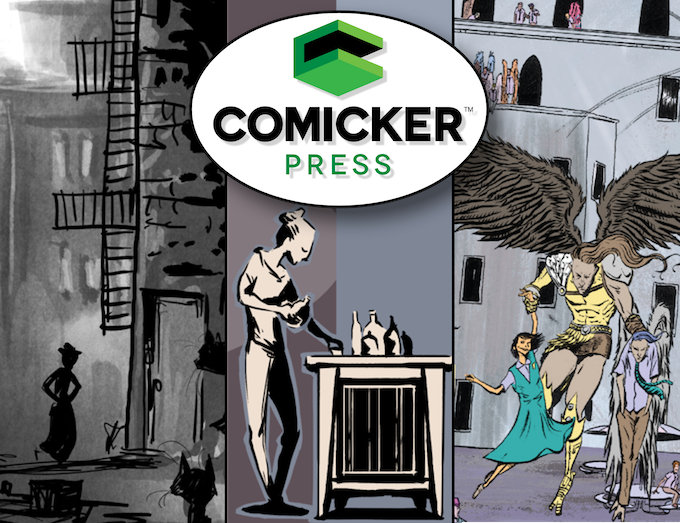 "Header image for our ""Comicker Press Launches!"" Kickstarter Campaign"