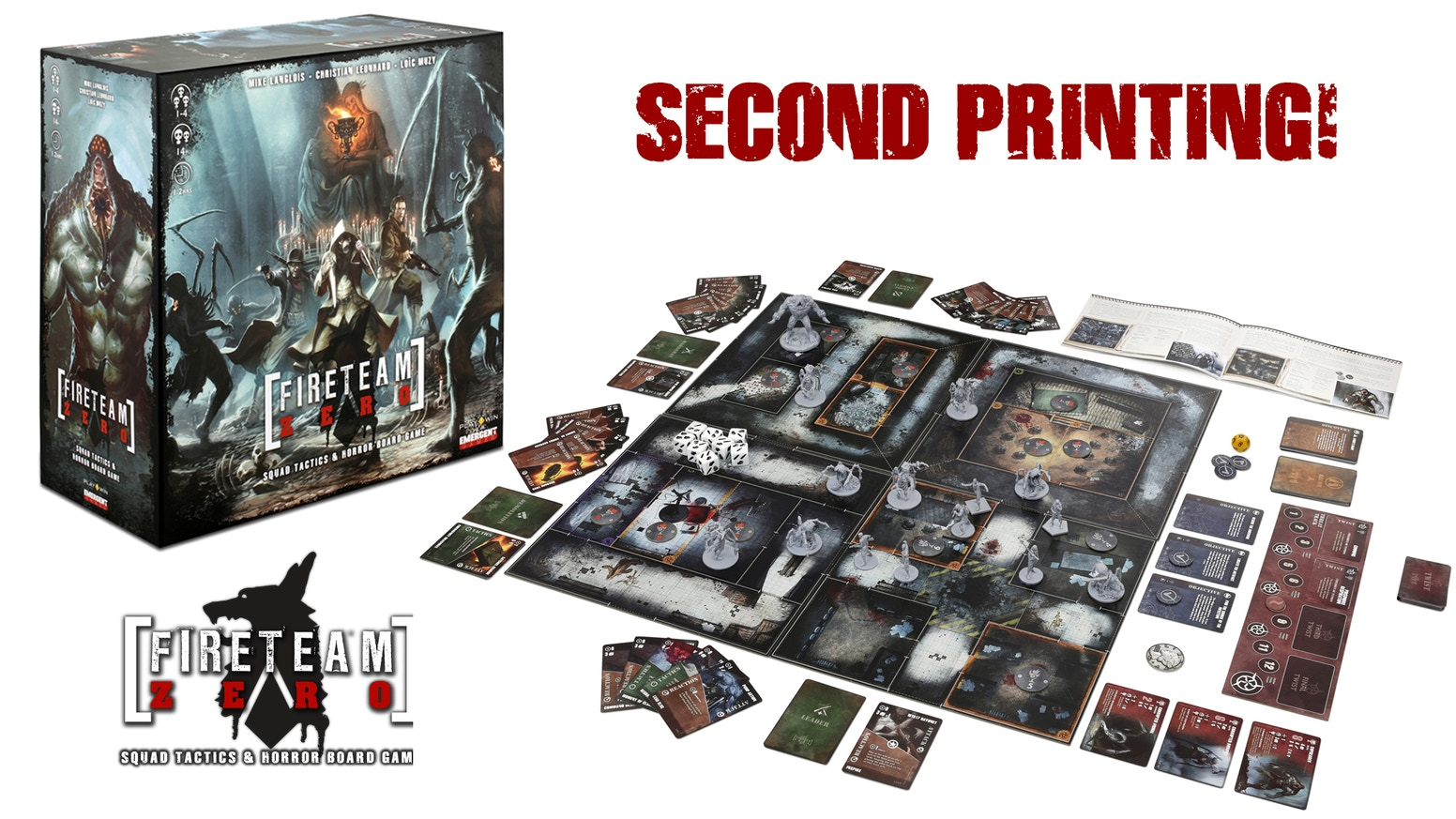 Fireteam Zero is an award-winning co-op miniatures board game featuring nail-biting tactical combat against world-devouring evil.