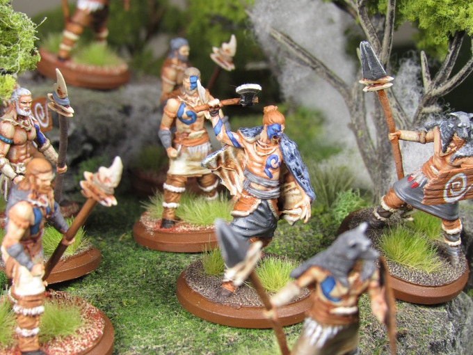A chieftain of the Great Forest Tribes leads his clan to battle.