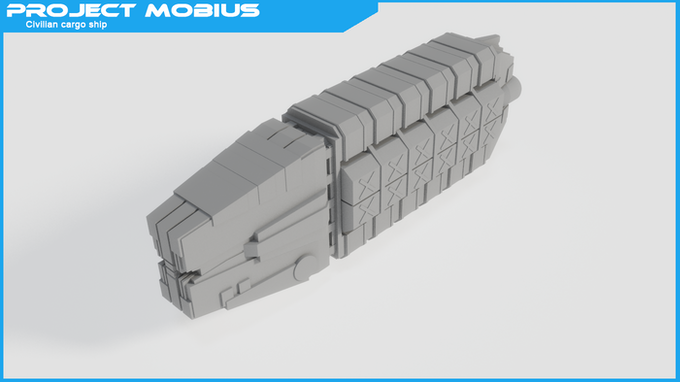 Civilian cargo ship - A typical civilian cargo space craft with a rugged design.
