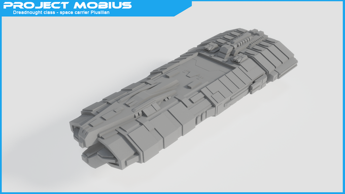 Dreadnought class space carrier - Plusllian - This space carrier has a large hangar bay top and bottom in the center. Armed with 4 twin barrel laser cannons as well as two bigger twin barrel laser cannons on both sides.