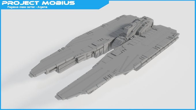 Pegasus class carrier - Argama - Packed with two mega particle cannons at the bottom of each deck as well as two twin cannons on the inner side of each decks. Each deck has four aircraft catapults, deck-edge elevators and helipads near the bridge.