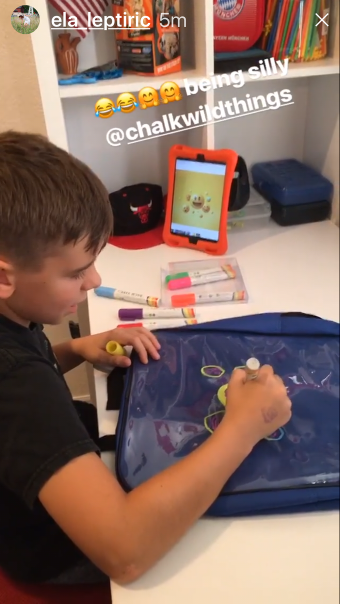 This young & talented creative student who is also a gifted photographer loves ChalkWild Erasable Book Bag