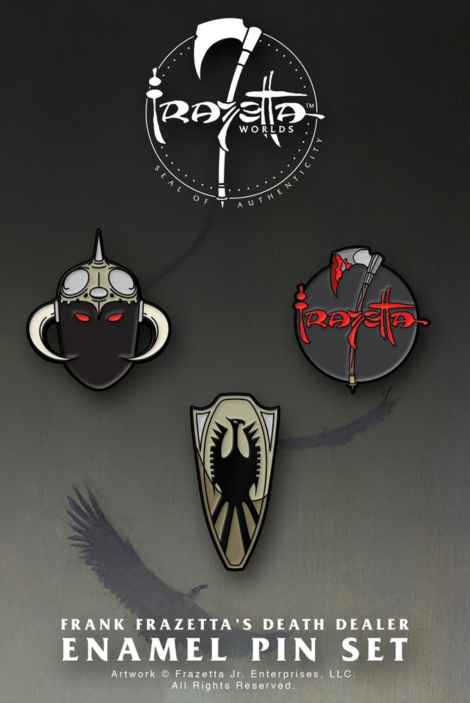 3 enamel pins based on DEATH DEALER!
