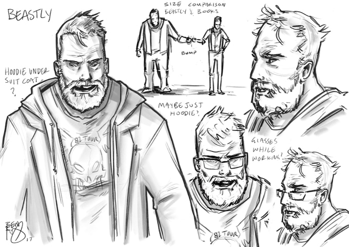 "NIGEL ""BEASTLY"" BOSWELL: A talented and unhinged artist. He's Shane's best friend, bodyguard, drug-buddy, catalyst… Beastly will push Books to his limits, but would also take a bullet for him."