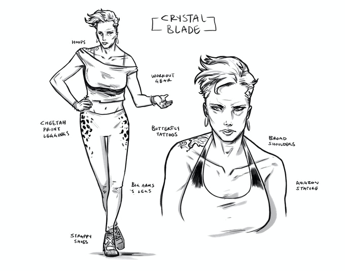 CRYSTAL BLADE aka MARTHA BOOKMAN: Shane's ex-wife… a hard-working, hard-living B-movie actress and model. Their relationship is… complicated.