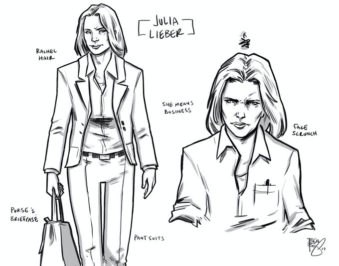 JULIA LIEBER: Julia's been Books' lawyer since before the beginning; she's the Superego balance to Beastly's rampaging Id.