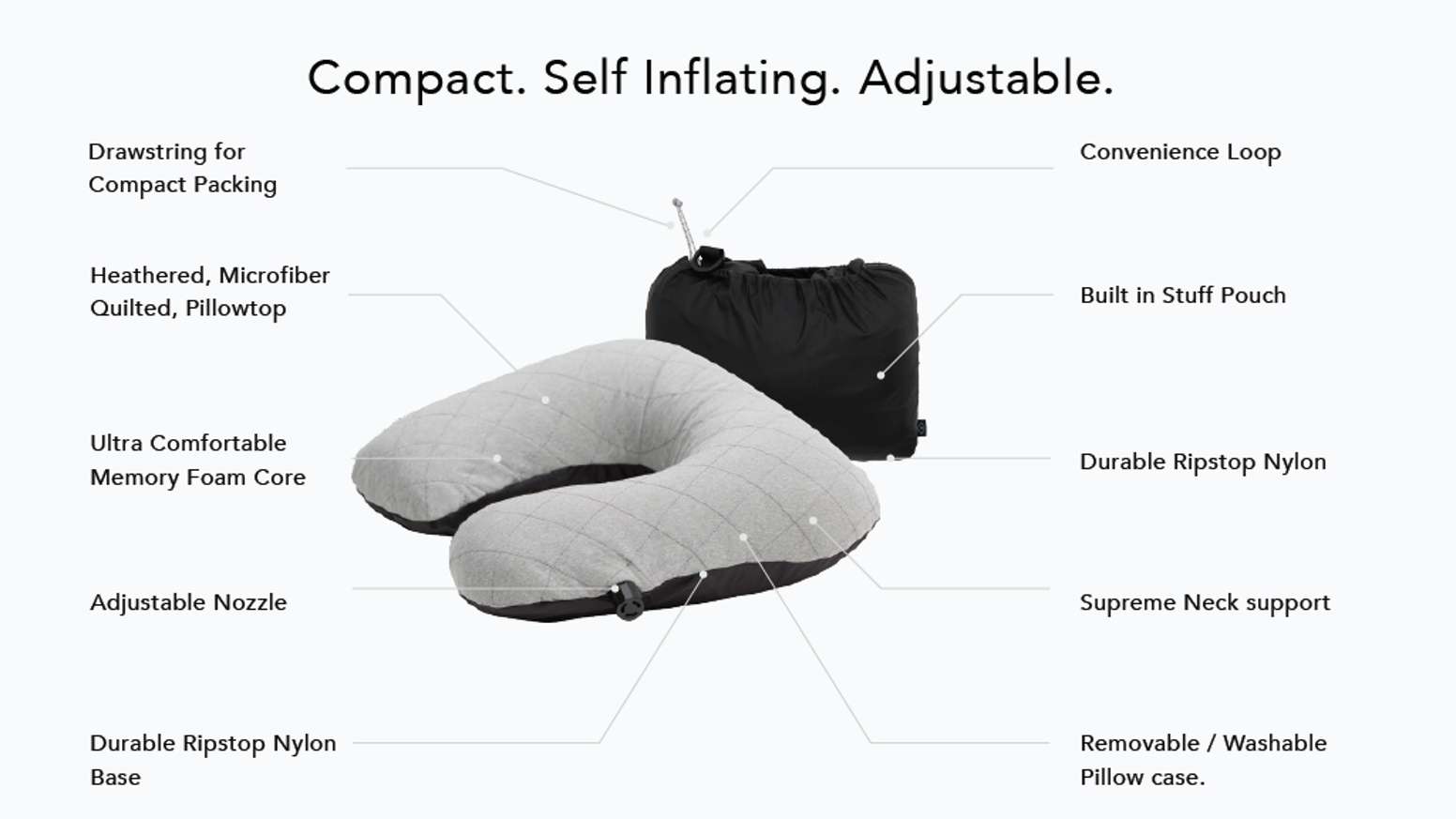 The buy-for-life, ultra comfortable, memory foam travel pillow that inflates itself and packs up smaller than your rain jacket.