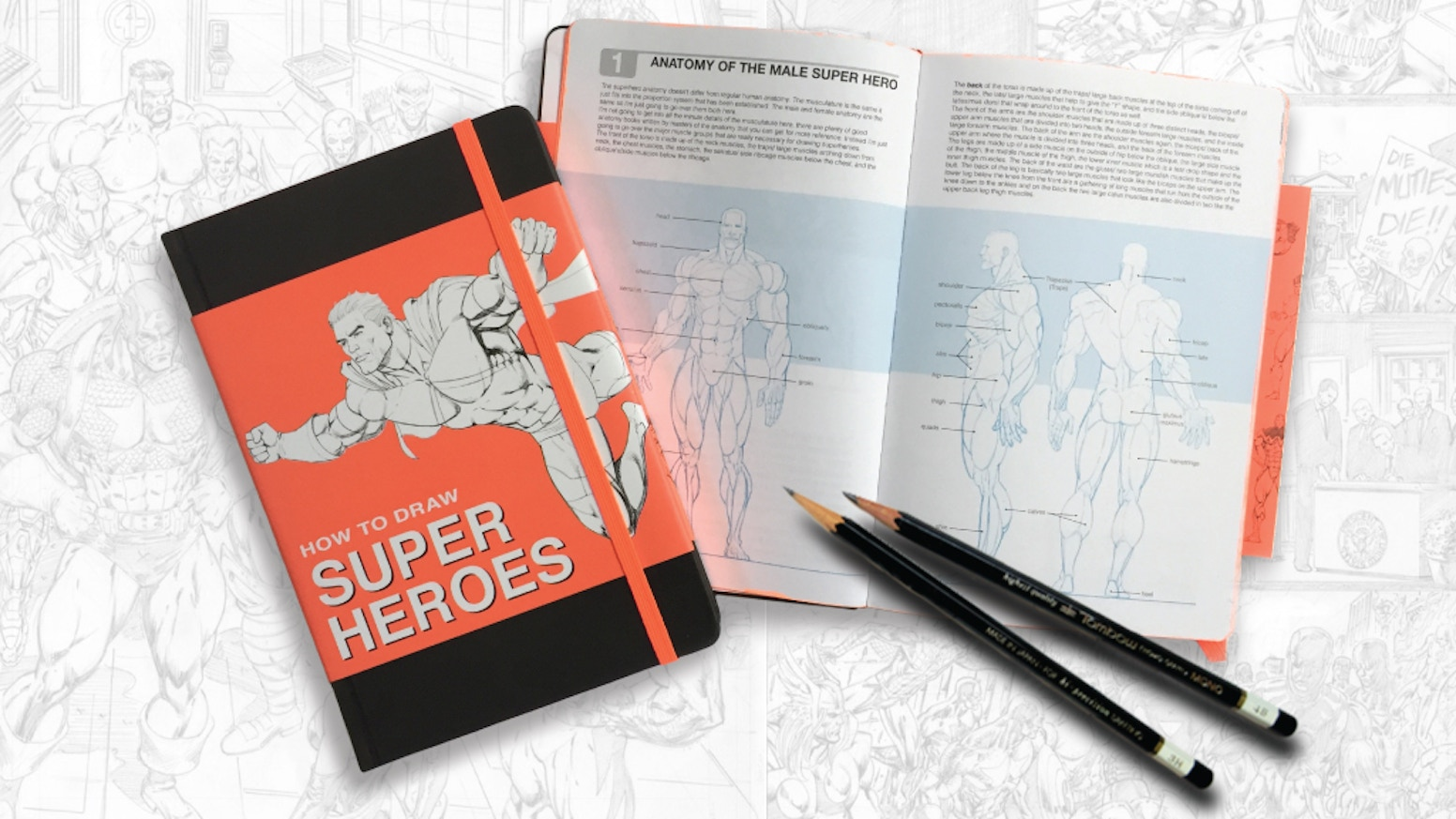 Draw right inside over guidelines. Featuring artwork by Comic industry veteran Andy Smith who's worked for Marvel, DC Comics, Disney and more. Learn and sketch at the same time.