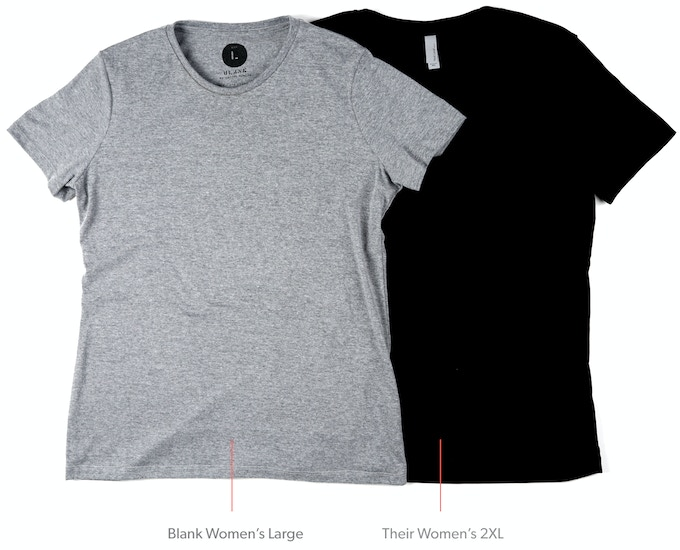 cd1c8f0c This is our Blank women's large next to a women's 2X from a typical wholesale  t-shirt manufacturer (their largest women's size).