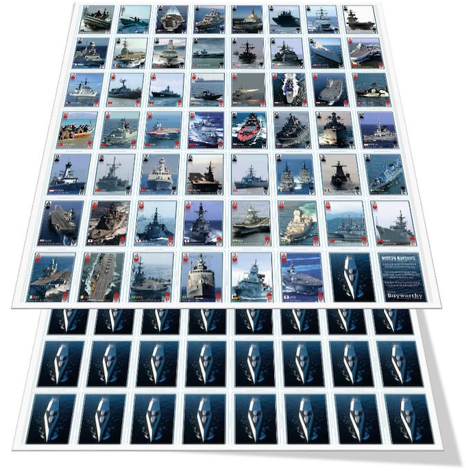 Modern Warships Playing Cards (Uncut Sheets)