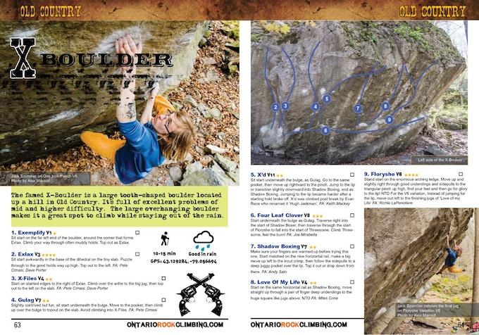 Niagara Glen Climbing Guidebook Sample Page