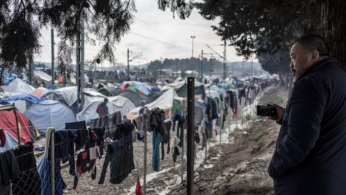 Ai Weiwei at Idomeni Refugee Camp, Greece, 2016
