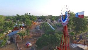 Bird's eye view of Community Gardens