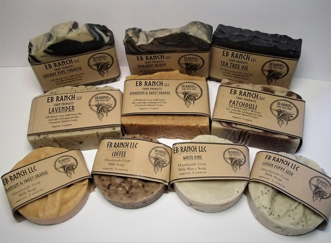 A small sample of the array of EB Ranch goat milk soaps