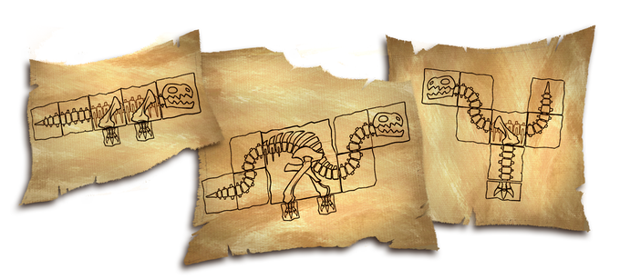 Find the other missing notes and complete each of the unique Fossil Schematics to fill up the Fossil Board.