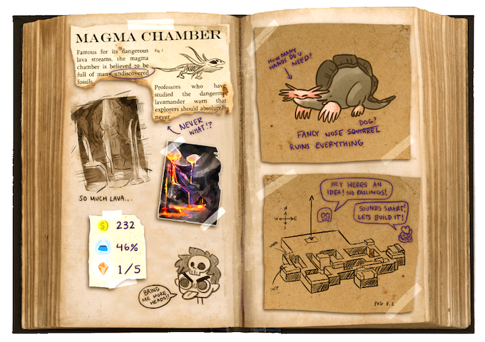 Fill your Fossil Journal with notes from your adventure, track progress on your objectives, and discover research notes from the missing expedition team.