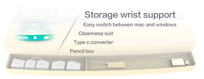 Wrist support is magnetically attached and has a container area underneath it. Stores replaceable keycaps for mac and windows, a keycaps puller, a cleanness napkin, and a USB to type c converter.