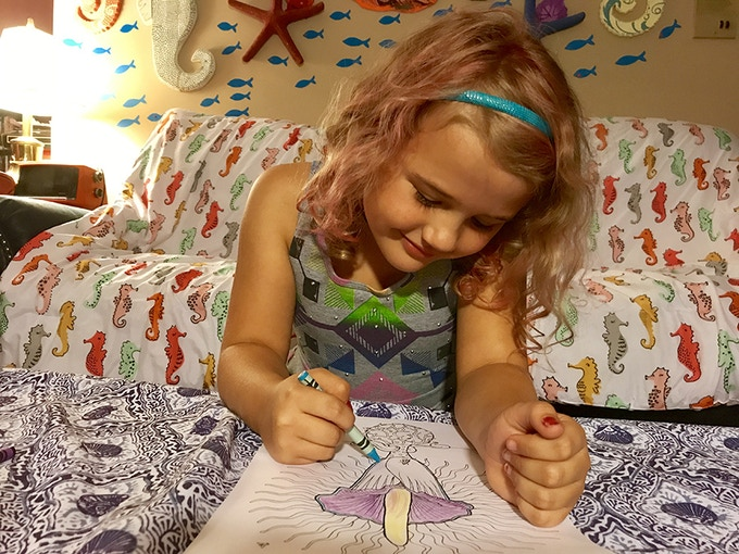 Ruby enjoying coloring (photo by Stacey Goldschmidt)