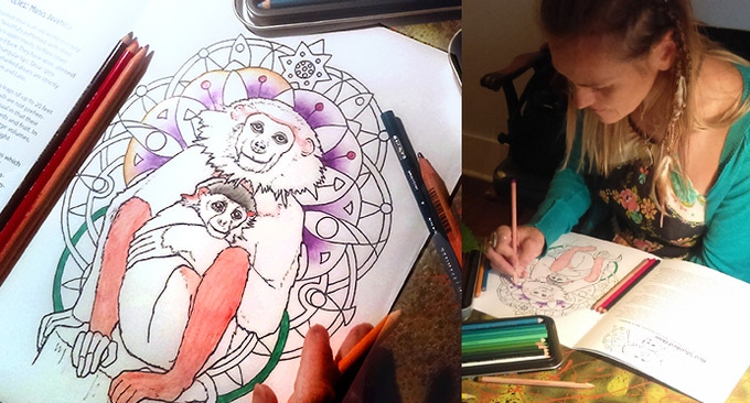 The rare Red Shanked Douc Monkey- get creative with coloring.