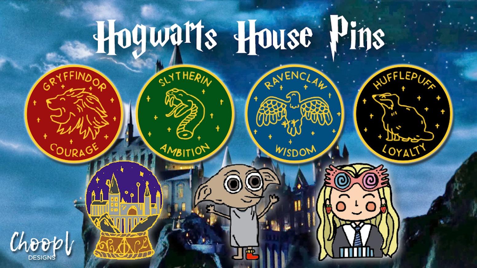 hogwarts houses harry potter enamel pins by alysia kickstarter. Black Bedroom Furniture Sets. Home Design Ideas