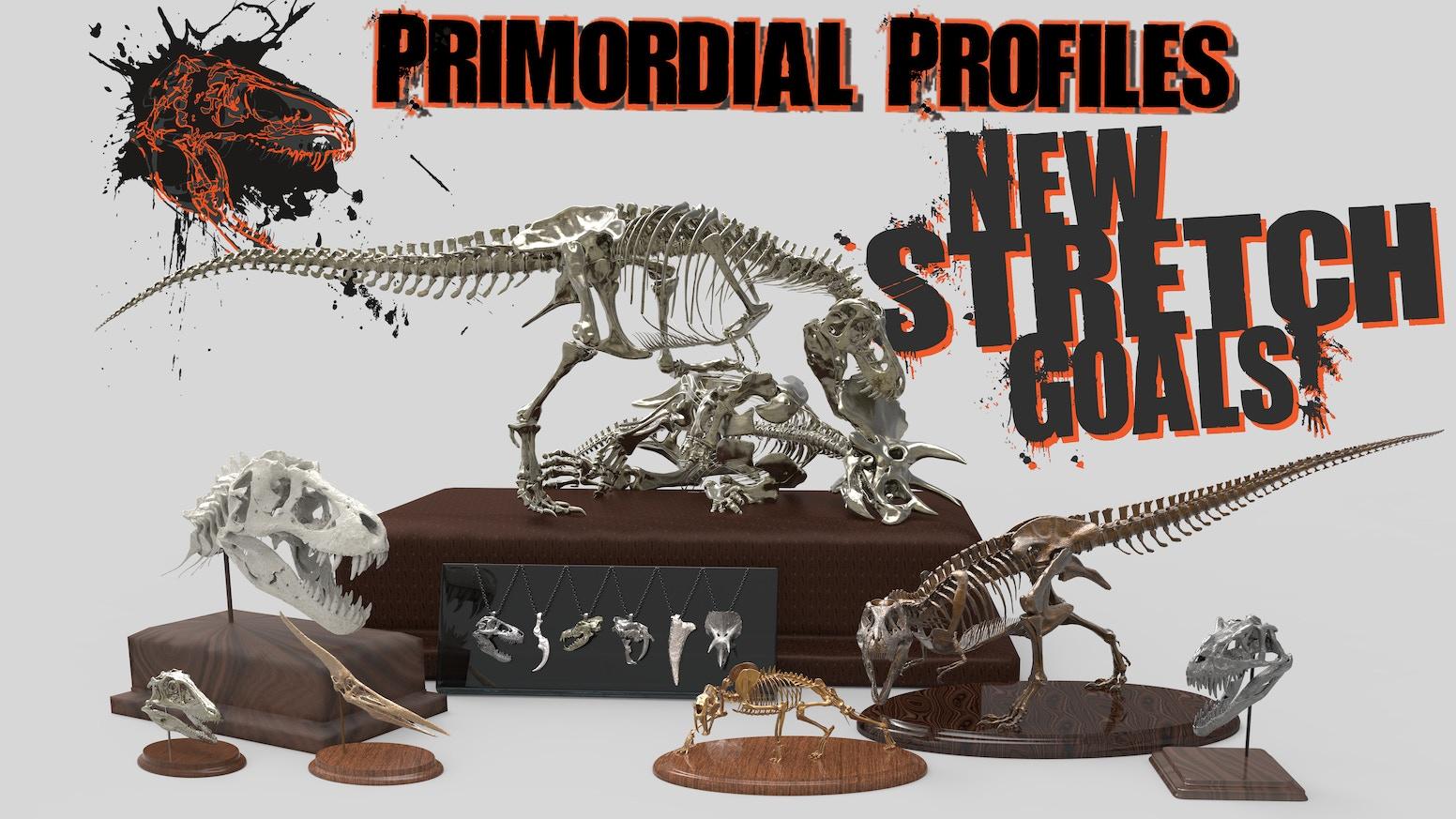 Prehistoric  Dinosaur Skulls  Skeletons in Precious Metal by
